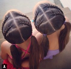 Double trouble braids into pigtails.