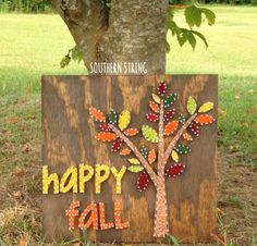 Fall leaves and tree string art
