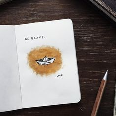 Bullet journal drawing idea,  paper boat drawing,  inspirational quotes.  @call.me.nana