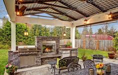 """Steele Outdoor Kitchen with 40"""" 5-Burner Gas Grill, Fireplace, Wrought Iron Furniture, Solar Panel Roof, and Ceiling Mounted Heaters"""