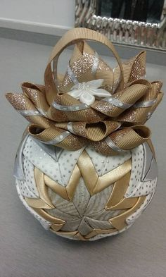 Gold, Silver and White Custom Quilted Ornament