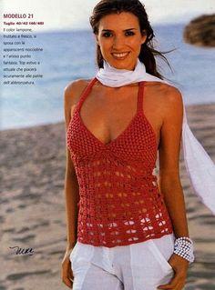 summer top with open back Diy Halter Top, Crochet Halter Tops, Crochet Shirt, Crochet Cardigan, Knit Crochet, Form Crochet, Crochet Woman, Crochet Patterns, Crochet Lingerie