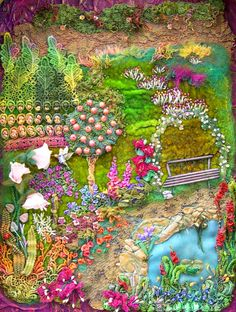 ♒ Enchanting Embroidery ♒ embroidered secret garden