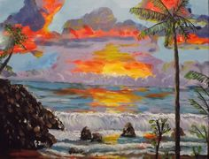 """""""Maui Sunset""""  20 x 16 acrylic on canvas =  This was my second sale.  Sold to Nick and Noelle Collins."""
