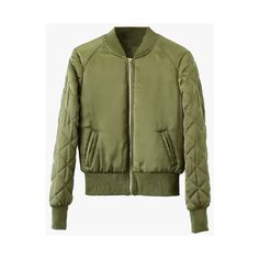 Olive Quilted Nylon Bomber Jacket ($46) ❤ liked on Polyvore featuring outerwear…