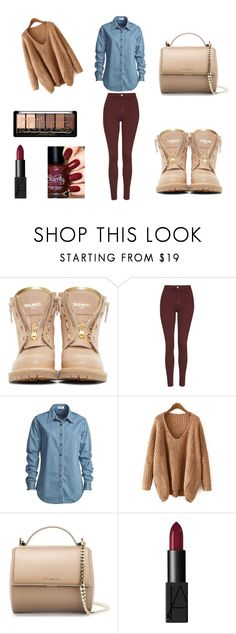 """**Street style**"" by emirica ❤ liked on Polyvore featuring Balmain, Topshop, Vale, Givenchy and NARS Cosmetics"