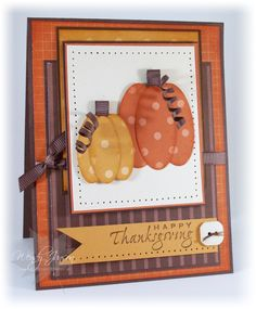 Stamps: Holidays & Wishes. Paper: Really Rust DSP, More Mustard DSP, Chocolate Chip DSP, Naturals Ivory (hardly ever use that!), Chocolate Chip, Really Rust, More Mustard. Ink: Really Rust, More Mustard, Chocolate Chip, (sponge edges of pumpkins and layers). Accessories: Neutrals button, Mat Pack/Paper Piercer, Small Oval punch, Large Oval punch, Chocolate Chip grosgrain ribbon, sponge, skewer.