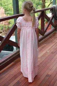 Back view - How to make a Basic Regency Girl's Dress