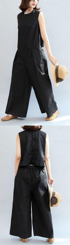black stylish linen pants casual slim sleeveless tops and loose pants