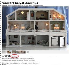 This completely refurbished Lundby Dollhouse is currently for sale on a Swedish webbsite. Nothing is left of the original decor. Even if the house had been all original features in mint condition it's difficult to understand the valutation. The original asking price was SEK 18000 which is appox $2770 or €2000. (The price has since been reduced to SEK 1000/$155/€110.)