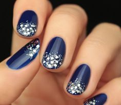 deco ongles bleu nuit