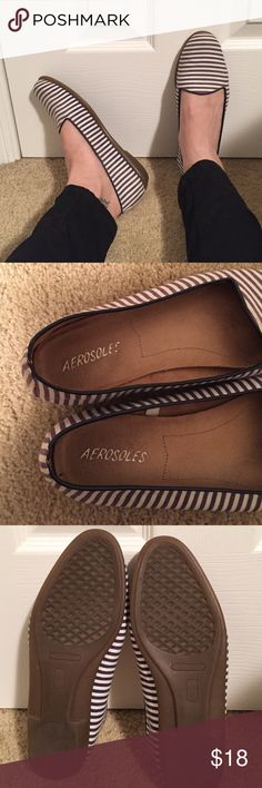 🎉BLACK FRIDAY SALE🎉Aerosoles flats size 7.5 Denim navy blue and white striped aerosoles flats. Really bummed to sell, but I'm an 8, and they are just a bit tight for me 😩 super soft soles, and in good condition. AEROSOLES Shoes Flats & Loafers