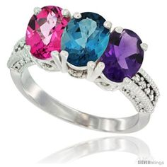 Size 5 - 14K White Gold Natural Amethyst, London Blue Topaz & Pink Topaz Ring. Many sizes and colors available. Offered by #Silver_Blings on Bonanza