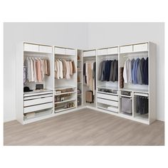 Explore this dream walk-in closet. IKEA PAX wardrobe and KOMPLEMENT open storage shelves, boxes, drawers, and interior organizers make it light and airy. Bedroom Closet Design, Master Bedroom Closet, Ikea Bedroom, Closet Designs, Bathroom Closet, Bedroom Decor, Ikea Pax Corner Wardrobe, Ikea Closet, Diy Wardrobe