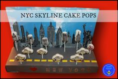 hoopla palooza: nyc skyline cake pops-it's all in the presentation folks! just take a styrofoam block and some card stock and you're on your way to NYC!