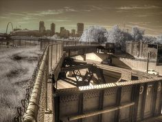"""Plans are underway to convert this train trestle into a park. will join Paris and NYC, with """"elevated"""" parks. Steampunk Artwork, Infrared Photography, Bike Path, Upcoming Events, St Louis, Missouri, The Good Place, Places To Go, This Is Us"""