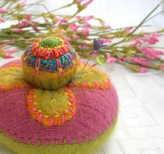 Funky Wool Pincushion | Sometimes I just start working witho… | Flickr