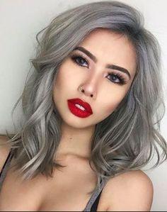grey wavy silver hair side parting lob bob modern rinse