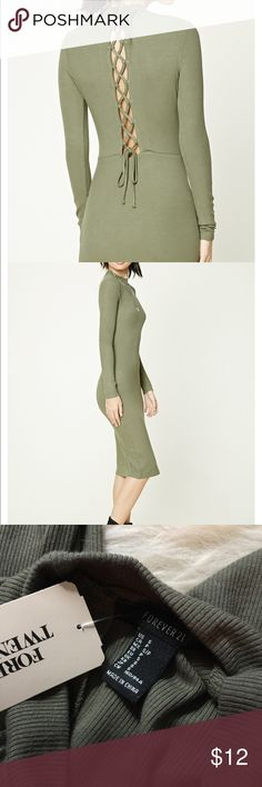 """Green lace up back midi dress NWT Ribbed green lace up midid dress, shows up a little darker in my photos than it truly is. Sexy lace up back. Mock neck and figure flattering. Approx 39"""" long. Tag describes it as knee length olive dress. 95% rayon 5% spandex. Forever 21 Dresses Midi"""