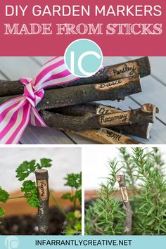 The plastic little stakes that come with herbs contain helpful information on them, cute they are not.  I love using natural elements like wood slices, leaves, flowers, etc.  So I looked no further than my backyard to create some cute herb stakes to mark my herbs. #diygardengifts #herbs #gardens #diygardens #gardeners 80th Birthday Gifts, Birthday Gift Baskets, Birthday Crafts, Birthday Quotes, Diy Craft Projects, Fun Crafts, Wood Projects, Hooded Towel Tutorial, Knock Off Decor