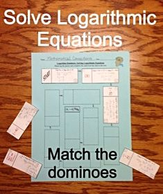 37) Solving Logarithmic Equations Dominoes Activity Logarithmic Functions, Find A Match, School Grades, Teacher Newsletter, Teacher Pay Teachers, Worksheets, Students, Knowledge, How To Apply