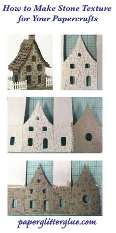 Stone texture tutorial for paper crafts - How to paint the stones layer by layer. - Papier in und - Paper Mache Crafts, Cardboard Crafts, Putz Houses, Fairy Houses, Doll Houses, Glitter Crafts, Glitter Glue, Glittery Nails, Glitter Bomb