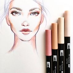 It's @sketchcouture here again. I work with color in many different ways. Using Tombow Dual Brush Pens really helps bring my fashion illustrations to life. I love using Tombow's 10-piece Portrait Set for coloring in skin tones. The set has a great range of light and dark neutrals and shades of pinks. Using the brush tip helps create a natural look and is great for layering colors. #tombow #tombowusa #NYFW #Marchesa #beautyillustration #runwaybackstage #model #fashionillustration