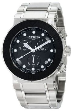 Invicta Men's 1464 Reserve Collection Chronograph Black Dial Stainless Steel Watch Invicta. $144.55. Black dial with white hands and hour markers; Luminous; Unidirectional bezel with black rubber ring; Screw-down crown and pushers. Water-resistant to 200 M (660 feet). Flame-fusion crystal; Brushed and polished stainless steel case and bracelet. Swiss-Quartz movement. Chronograph functions with 60 second, 30 minute and 1/10 of a second subdials; Date function. Save 89%!