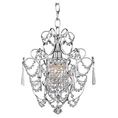 Illuminate your dining room or foyer with this elegant chandelier, showcasing crystal accents and a chrome finish.  Product: Cha...
