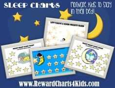 A selection of free printable reward charts that can be used specifically for sleep issues.