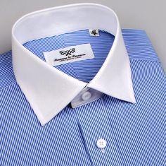 Grey Floral Dress, Floral Shirt Dress, Dress Shirts, Business Shirts, Business Dresses, Blue Shirt White Collar, Blue Shirt Outfits, Gents Shirts, Bespoke Shirts