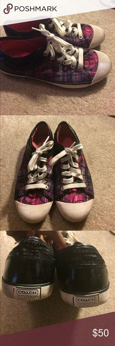 Pink, purple and black Coach tennis shoes Gently used Coach tennis shoes. Pink, purple and black Coach Shoes Sneakers