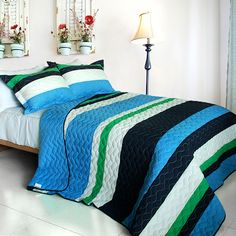Blue Navy Green Striped Bedding Full/Queen Quilt Set Teen Boy or Girl