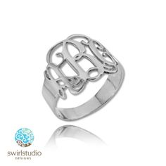 Monogram Ring in Sterling Silver 925 - Personalized with Your Initials (size 4.75 )  https://www.etsy.com/listing/115535047/monogram-ring-in-sterling-silver-925?ref=listing-shop-header-1