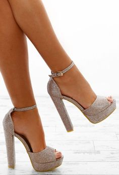 5eacf8d4241a Keep your feet looking super sparkly with these amazing rose gold platform  heels! These rose gold heels feature a super high block heel