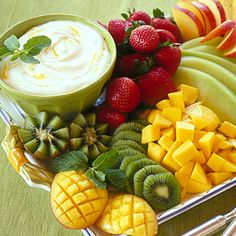 Tropical Fruit with Mango Cream | Coastalliving.com