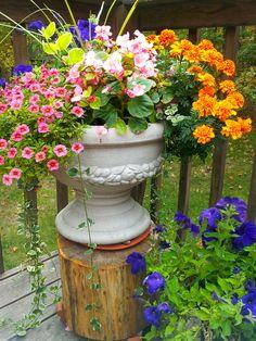 Patio/deck flower pot - with petunias, begonias, marigolds, calibrachoa, vinca vine, and spikes