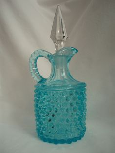 Cruet VTG aqua Fenton L G Wright hobnail w/stopper FREE SHIP  $110.00 OBO ((OOOHHHH YYEEESSSS!!! WE ALL KNOW I LOVE FENTON GLASS / MILK GLASS / DEPRESSION GLASS!!! ITZ ONE OF THOSE GREAT BEAUTIES... I WANT I WANT!!!))