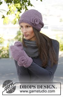 """Lavender Love - Set consists of: Knitted DROPS hat and mittens in """"Andes"""". - Free pattern by DROPS Design"""