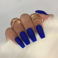 Pinterest- @LitAFOutfits Nails Long Blue