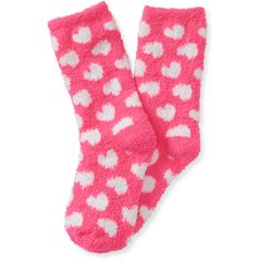 Aeropostale Kids' Heart Fuzzy Crew Socks ($4) ❤ liked on Polyvore featuring intimates, hosiery, socks, popstar pink, aéropostale, pink crew socks, patterned hosiery, pink fuzzy socks and patterned socks