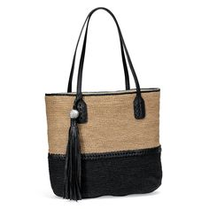 Made by hand with love in Madagascar, the Parma Raffia Tote by Brighton takes the straw bag to an entirely new level of sophistication with its color blocking and elegant tassel. #GiveBackGetStylish