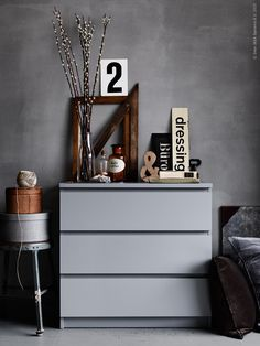 Trying to incorporate that boring IKEA Malm dresser into my new cool Scandinavian style room interior design, part 4 Ikea Inspiration, Interior Inspiration, Ikea Malm Drawers, Interior Styling, Interior Design, My Ideal Home, Deco Design, Ikea Furniture, Grey Walls