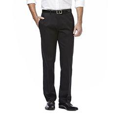 Men's Haggar Premium No Iron Khaki Stretch Classic-Fit Flat-Front Pants, Size: