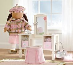 75f6d39aaf48 Pottery Barn Kids doll vanity sized for American Girl Dolls - like this  possibly in the