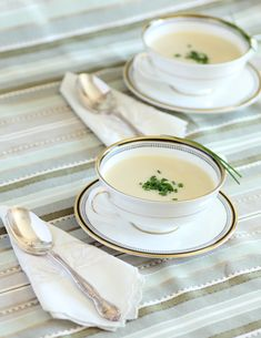 Julia Child's Vichyssoise. Chilled and perfect (but maybe add nutmeg and bacon/croutons if you need texture/contrast)