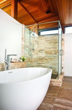 Cardinal's Nest-travertine stile slabs in the shower Bathroom Kids, Bathrooms, Stone Work, Travertine, Nest, Sink, Bathtub, Vanity, Shower