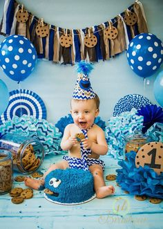 Saving for the background tie. Birthday Themes For Boys, Baby Boy First Birthday, Boy Birthday Parties, Birthday Ideas, Monster 1st Birthdays, Cookie Monster Party, Sesame Street Birthday, Cake Smash, Photography