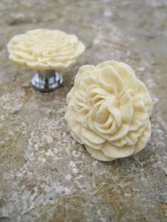 Peony Flower Drawer Knob In Yellow White, More COLORS Available (RFK02).  $5.50