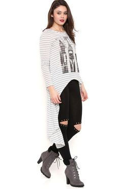 Long Sleeve Extreme High Low Stripe Top with Graphic Cities Screen